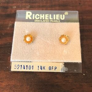 3 for $16 vtg Richelieu faux pearl GF earrings
